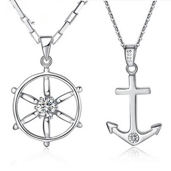 FLOW ZIG Vilam Zinc Alloy Tiny Anchor Love Couple Necklaces (Random Silver Chain) 1 pair - CE124ASHWKT
