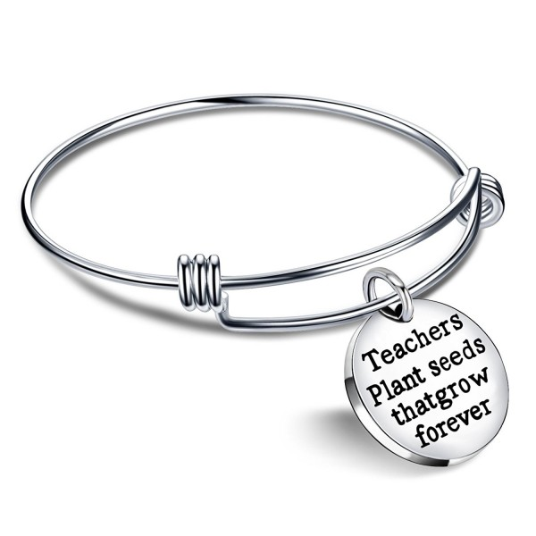 Term Begins/end Teacher Gift Expandable Bangle Teachers plant seeds that grow forever Bracelet Women Men - C517YI2YZ8I