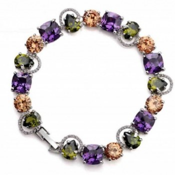 White Gold Plated Multicolor Cubic Zirconia Bracelet For Woman- Gifts For Woman - C7182MR4ZGM