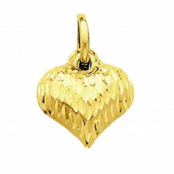 14k Yellow Gold Diamond-cut Puffed Heart Charm - C1126ZF9OLV