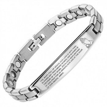 Willis Judd Titanium Magnetic Bracelet Engraved with The Hail Mary Adjustable - CW126HQEOF9