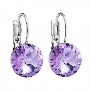 Gorgeous Special Magical Large Stud Style Lavender Purple Sparkling Crystals Silver-Tone Fashion Earrings - C212NE1GG1S