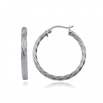 Hoops & Loops Sterling Silver 3mm Twist Design Polished Small Hoop Earrings - C912H3NAG7T