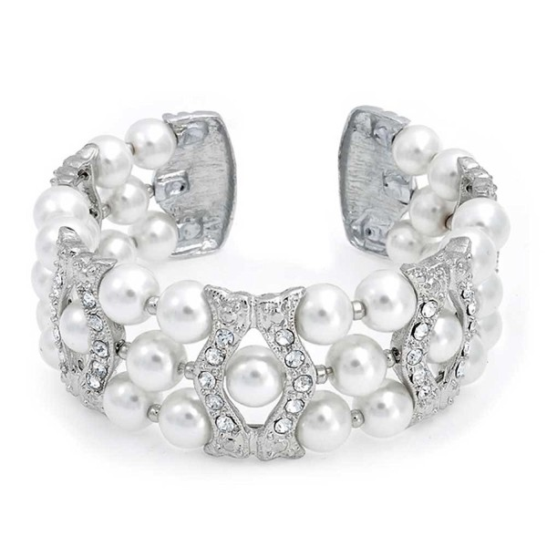 Bling Jewelry Simulated Pearl Crystal Bridal Cuff Bracelet Rhodium Plated - C9117JY4ZPN