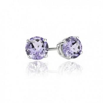 Sterling Silver .8Ct Amethyst Round Stud Earrings- 5MM - CS187WYL62Q