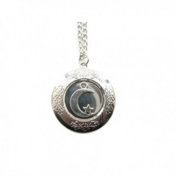Ancient Silver Moon Locket Necklace-moon and Star Charm Locket Pendant-moon Stars Locket Pendant Jewelry - CX129D0OXH5