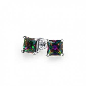 Bling Jewelry Square Simulated Rainbow Topaz CZ Screwback Sterling Silver Stud Earrings 6mm - CG1236K1CHR