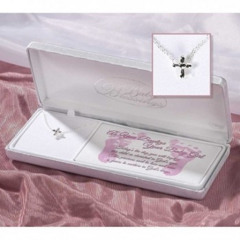 Sterling Silver Baby Blessings Baptism Petal Cross Necklace on 13 inch Cable Chain - CA11JY12SJ9