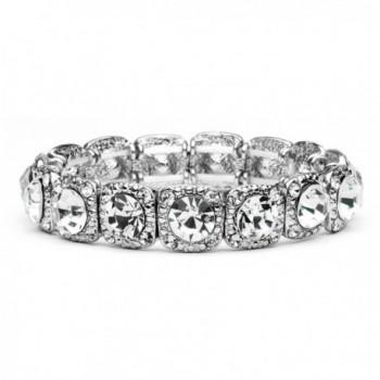 Mariell Vintage Silver Crystal Stretch Bracelet - Adjustable Fit Bangle for Weddings- Prom & Fashion - CW121KHH2N1