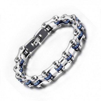 Rainso 316L Stainless Steel Silver Motocycle Chain Bracelet with Blue Shiny Rhinestones in Gift Bag - CZ12GDUG9Y3