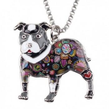 "Bonsny Love Heart Enamel Zinc Alloy Metal Pit Bull Buster Dog Necklace Dog Animal Jewelry pendant 18"" - Grey - CH12N0EQKHJ"