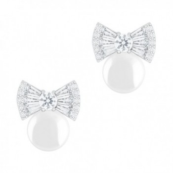 18k Gold Plated Round Simulated Shell Pearl with Cubic Zirconia Bow Stud Earrings (7.5-8 mm) - White - CW125Z2ABZR