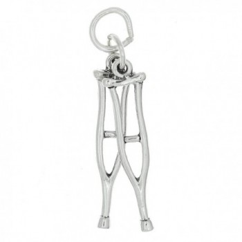Sterling Silver Oxidized Double Sided Medical Crutches Charm - CE115SPLGBV