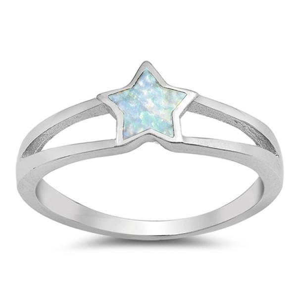 Sterling Silver Star Ring - White Simulated Opal - CI12N0J82WW