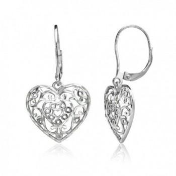 Sterling Silver Diamond-cut Filigree Heart Dangle Leverback Earrings - Sterling Silver - C1189KCEZ7W