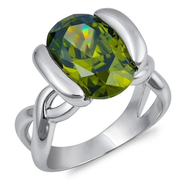 Oval Simulated Peridot Infinity Knot Ring New .925 Sterling Silver Band Sizes 6-10 - C0187YAQA9A