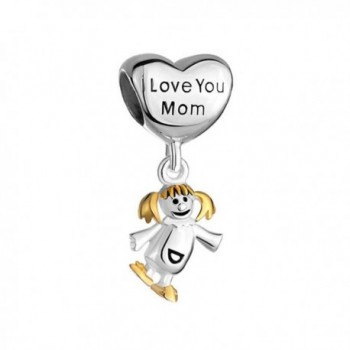 Q&Locket 925 Sterling Silver Mother Daughter Charm Heart I Love You Mom For Bracelet - C612NYZZ46O