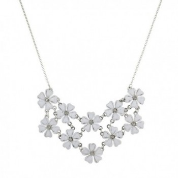 Lux Accessories Multi Color Floral Flower Mini Special Occasion Statement Necklace - White - CF12HTL1Q9X