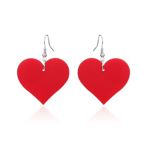 Lureme Acrylic Heart Dangle Earrings for Women and Girls(er005558) - Red - CW182HCWC99