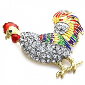 Rooster Fighting Multicolor Enameled Rhinestones