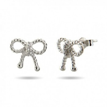 Sterling Silver Twisted Bow Earrings - CV118STST9L
