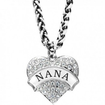 Mother's Day Gift for Nana Engraved Nana Crystal Adorned Heart Shaped Pendant Wheat Chain Necklace Nana - Clear - CT12EUMOGA9
