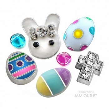 7 pc Easter Bunny DELUXE Floating Charm Set - Crucifix Cross - fits ALL 30mm Living Memory Glass Lockets - CW12E3PWP7Z