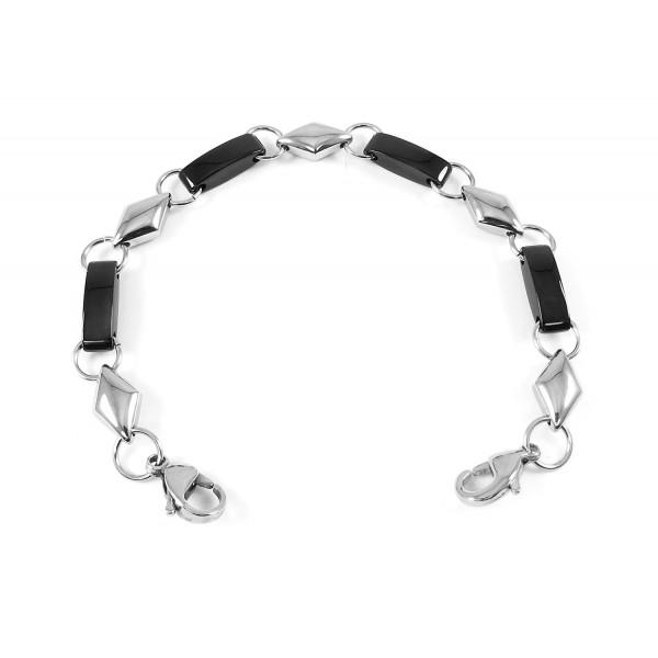 MyIDDr - Interchangeable Medical Bracelet Strand- Black & Polished Stainless Steel - CQ12ODT3YST