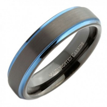 MJ 6mm Black Plated Tungsten Carbide Blue Plated Edge Wedding Band Ring - CY12ODOP8H3