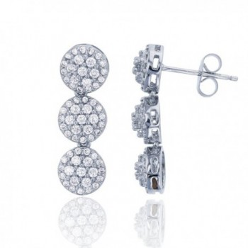 Sterling Silver Rhodium Round CZ Cluster Linear Dangling Earring - CT185CEKOSI