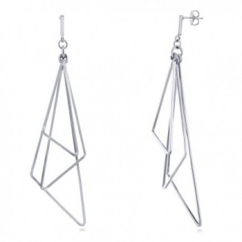 BERRICLE Rhodium Plated Base Metal Triangle Fashion Statement Dangle Earrings - C412O1K5AC3