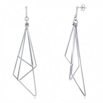 BERRICLE Rhodium Plated Base Metal Triangle Fashion Statement Dangle Earrings - C412O1K5AC3