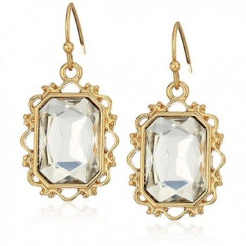 1928 Jewelry Gold-Tone Crystal Rectangle Faceted Drop Earrings - CB11OQWVXF1