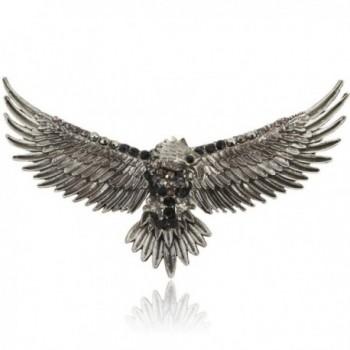 EVER FAITH Women's Austrian Crystal Vintage Style Flying Eagle Bird Brooch - Black Antiqued Silver-tone - CI11HI5VZ65