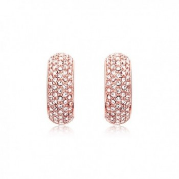 MYJS Stone Palace Rose Gold Plated Swarovski Crystals Pave Hoop Earrings - C012BBVCMEP