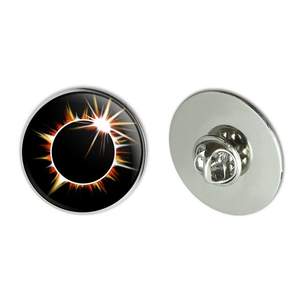 "Total Solar Eclipse Painted Metal 1.1"" Tie Tack Hat Lapel Pin Pinback - CD185Q7ZEG0"