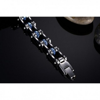 Rainso Stainless Motocycle Bracelet Rhinestones in Women's Link Bracelets