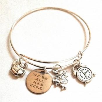 "Alice in Wonderland Inspired ""We are all Mad Here"" Charm Bangle Bracelet - CZ1880DZI6L"