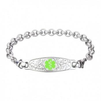 Divoti Custom Engraved Beautiful Olive Medical Alert Bracelet -Elegant Rolo Stainless -Green - CZ12GE3ESA5