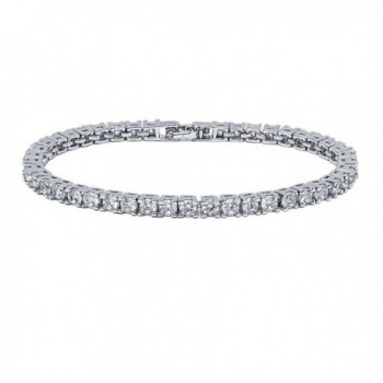 VPKJewelry 12.00 ctw 4 mm Clear Diamonique CZ Rhodium Plated Tennis Bracelet - C918366SC32