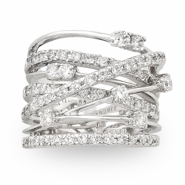 JanKuo Jewelry Rhodium Plated Cubic Zirconia Wide Band Cocktail Ring - C3115BZ1C17