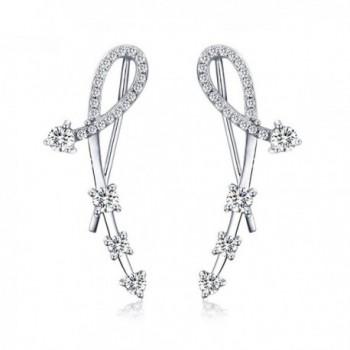 925 Sterling Silver Star CZ Diamond Ear Crawler Cuff Wrap Earrings Stud Ear Climber Jackets - Silver - C5180E7RSMU