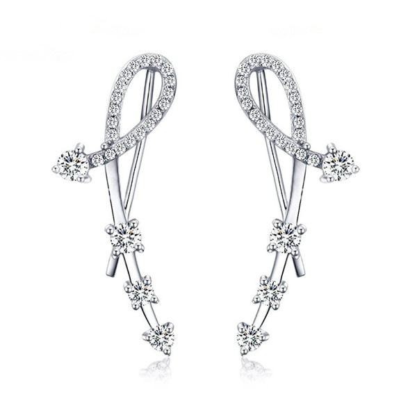 56d32e0cd 925 Sterling Silver Star CZ Diamond Ear Crawler Cuff Wrap Earrings Stud Ear  Climber Jackets - Silver - C5180E7RSMU
