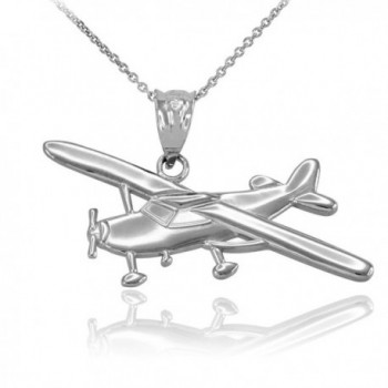 Polished 925 Sterling Silver Airplane Aircraft Pendant Necklace - CX12KKA1365