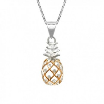 """Sterling Silver with 14K Rose Gold Plated Trim Pineapple Necklace Pendant with 18"""" Box Chain - C811FSK5LYT"""
