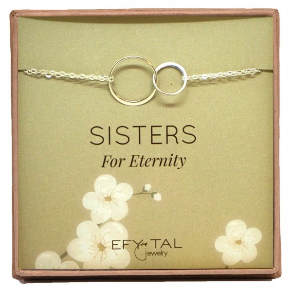 Sterling Silver Sisters Bracelet- Infinity Joined Two Interlocking Double Circles on Card Gift For Sister - CC187R6GXE5