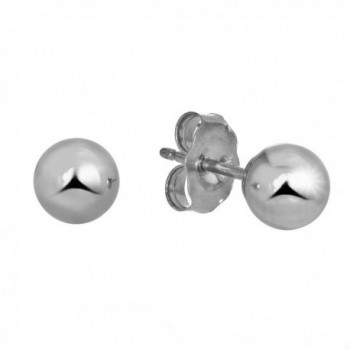 JewelStop 14k Real White Gold Stud Ball Earrings W/ Gold Friction Backs - 6 mm - CM11Y700D0N