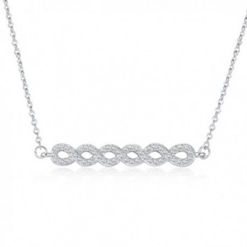 Rosa Vila Cubic Zirconia Braided Pendant Necklace - Simple Horizontal Bar Necklaces for Women - Silver Tone - CG188U6O96Z