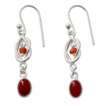 NOVICA .925 Sterling Silver and Dyed Red Onyx Dangle Earrings- 'Festive Knot' - CR127Y4P44X