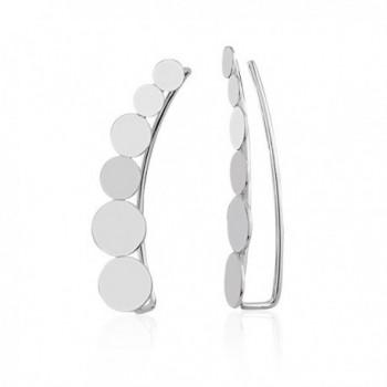 925 Sterling Silver Round Circle Dot No Pierce Ear Pin Climber Vine Earrings- Set of Two (2) - CK183447TMR